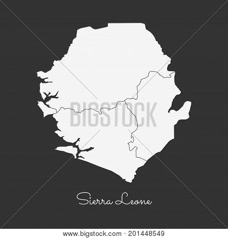 Sierra Leone Region Map: White Outline On Grey Background. Detailed Map Of Sierra Leone Regions. Vec
