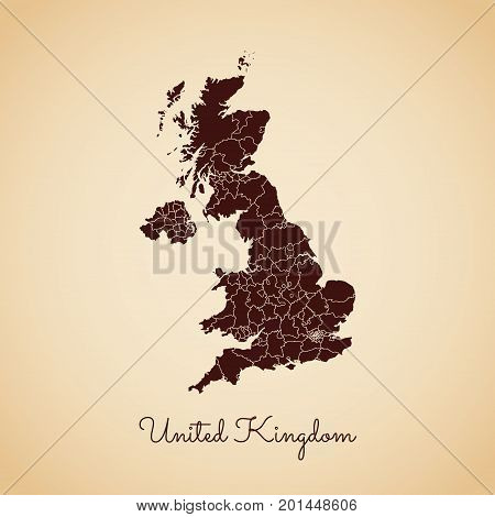United Kingdom Region Map: Retro Style Brown Outline On Old Paper Background. Detailed Map Of United