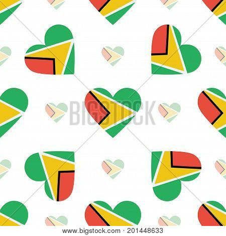 Guyana Flag Patriotic Seamless Pattern. National Flag In The Shape Of Heart. Vector Illustration.