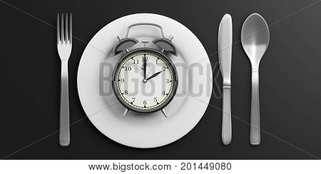 Lunch Time Concept On Black Background. 3D Illustration