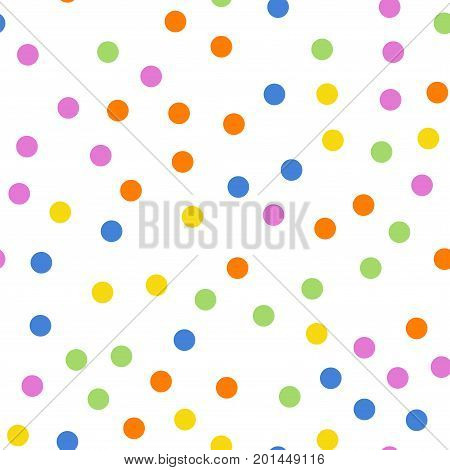 Colorful Polka Dots Seamless Pattern On White 2 Background. Classy Classic Colorful Polka Dots Texti