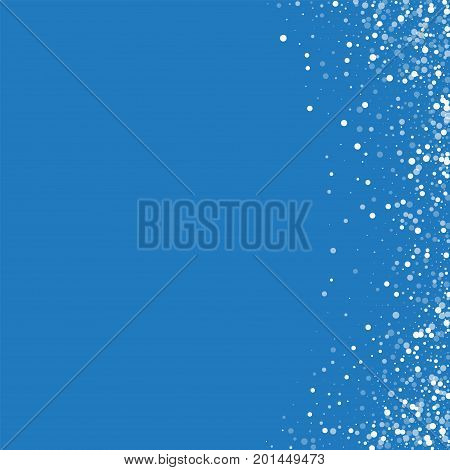 Random Falling White Dots. Abstract Right Border With Random Falling White Dots On Blue Background.