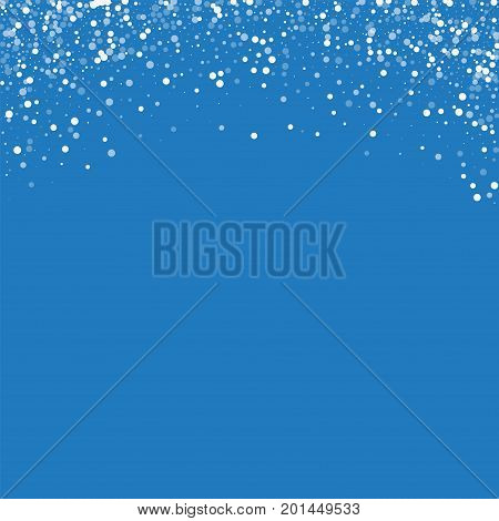 Random Falling White Dots. Abstract Top Border With Random Falling White Dots On Blue Background. Ve