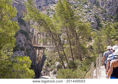 Hiking on the Caminito del Rey trail in Spain