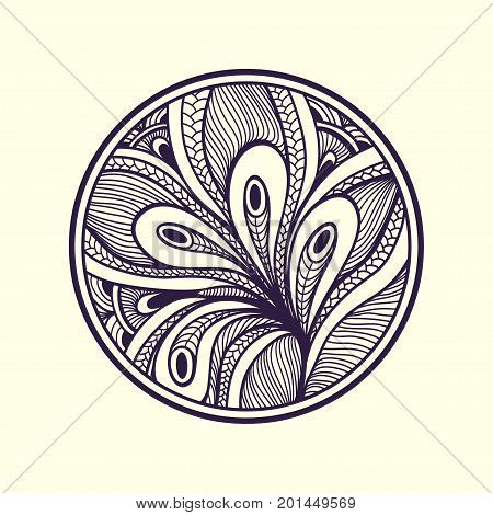 Abstract handmade Zen-doodle Zen-tangle background black on white  in circle for coloring page or relax coloring book or for decoration different things