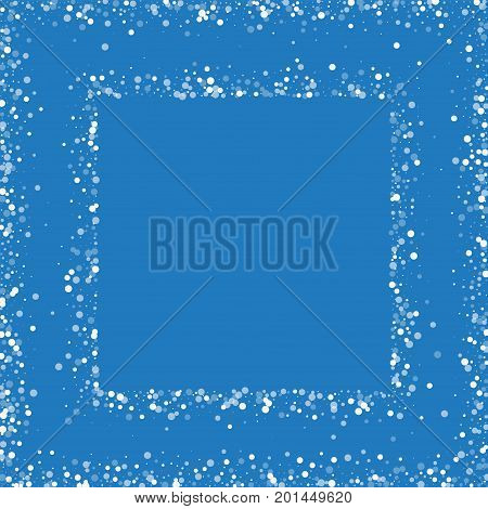 Random Falling White Dots. Square Abstract Frame With Random Falling White Dots On Blue Background.