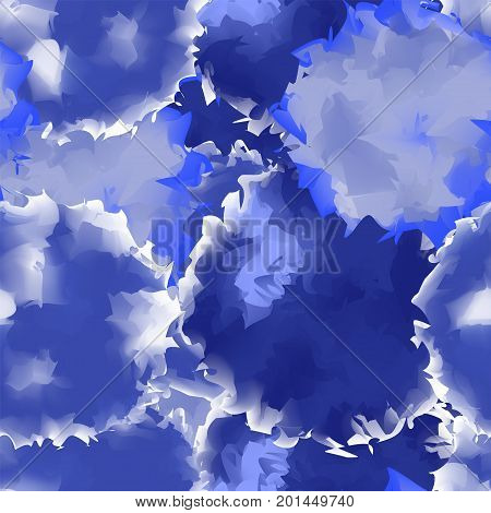 Indigo Seamless Watercolor Texture Background. Mesmeric Abstract Indigo Seamless Watercolor Texture