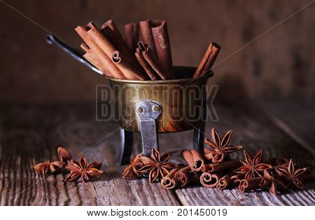 Anise and cinnamon sticks. Food additives for cooking