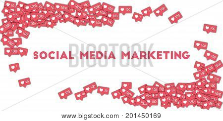 Social Media Marketing. Social Media Icons In Abstract Shape Background With Pink Counter. Social Me