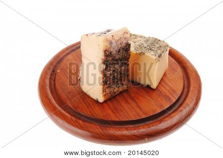 image of aged smoked french cheese on wood