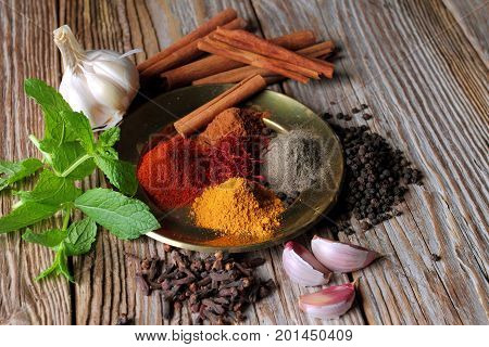 Herbs and spices. Food and cuisine ingredients. Colorful natural additives.