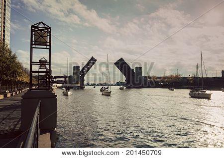 Lake Shore Drive Bridge is up. Chicago Illinois USA.