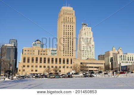 Skyline of Kansas City. Kansas City Missouri USA.