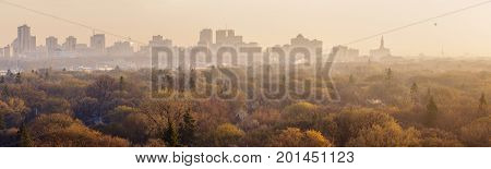 Winnipeg panorama at sunrise. Wynnipeg Manitoba Canada.