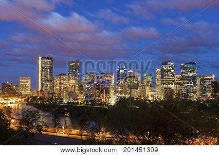 Calgary - panorama of city with Bow River. Calgary Alberta Canada.