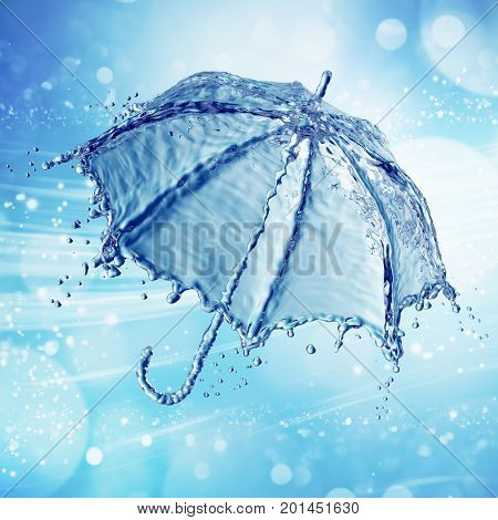 Water splash in the form of a umbrella. Blue background. 3d rendering