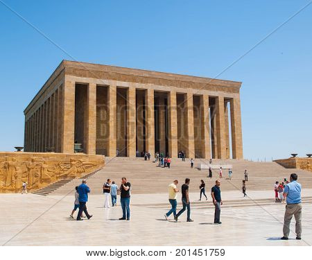 ANKARA TURKEY - AUGUST 2 2017: Tourists visiting Ataturk Mausoleum Anitkabir monumental tomb of Mustafa Kemal Ataturk