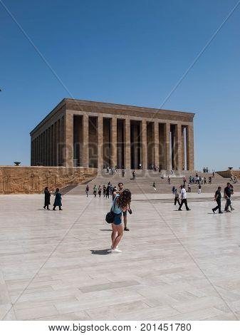2/08/2017 Tourists making pictures in front of Mustafa Kemal Ataturk Mausoleum Anitkabir in Ankara, Turkey