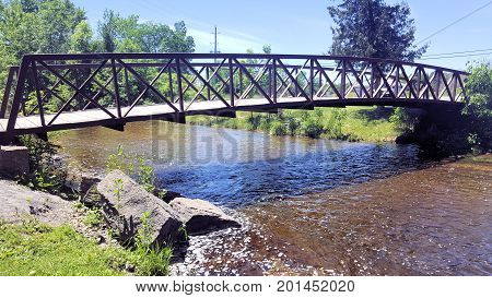 A Bridge Over The River At Babcock Mills In Odessa Ontario Canada