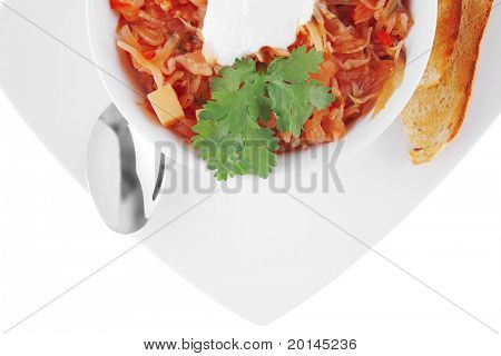 image of vegetable soup and gold bread toasts