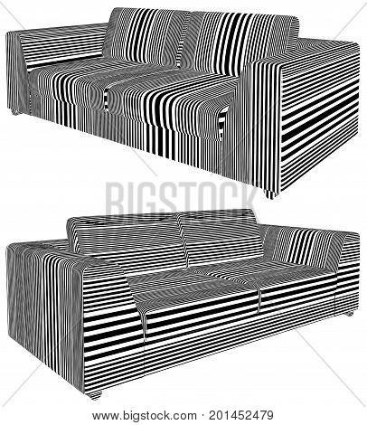Modern Sofa Stripe Pattern Isolated Illustration Vector