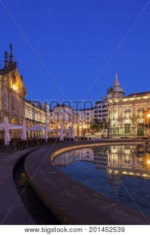Arcada on Plaza de la Republica in Braga at dawn. Braga Norte Region Portugal.