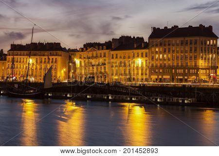 Nantes panorama across Loire River. Nantes Pays de la Loire France.