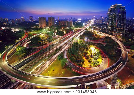 Aerial view of a beautiful Semanggi interchange overpass in the nighttime. shot in Jakarta Indonesia