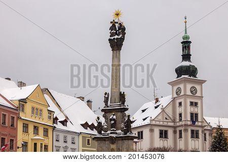 Plague column in Loket. Loket Bohemia Czech Republic.