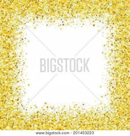 card with shimmer Greeting card with stars. Gold sparkle. Shimmer. Sparkles. Golden frame of hearts. Border. Confetti.