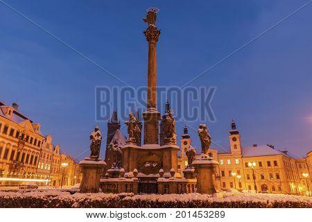 Plague column on Main Square in Hradec Kralove Bohemia Czech Republic.