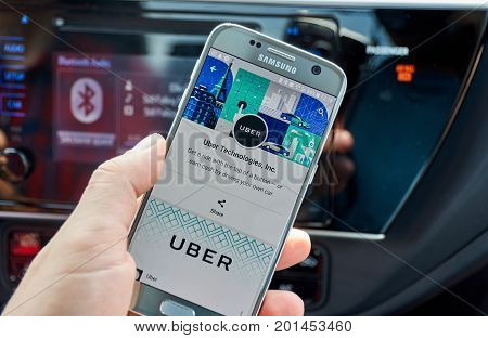 MONTREAL CANADA - AUGUST 22 2017 : Uber application on Samsung S7. Uber Technologies Inc. is an American technology company headquartered in San Francisco