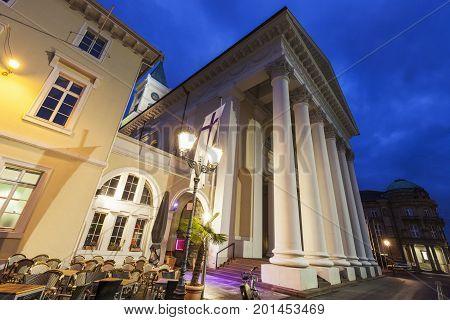Evangelica church in Karlsruhe. Karlsruhe Baden-Wurttemberg Germany.