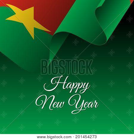 Happy New Year banner. Burkina Faso waving flag. Snowflake background. Waving flag. Vector illustration.
