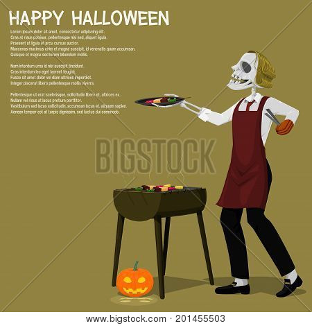 A ghost is grilling Barbecue on transparent background