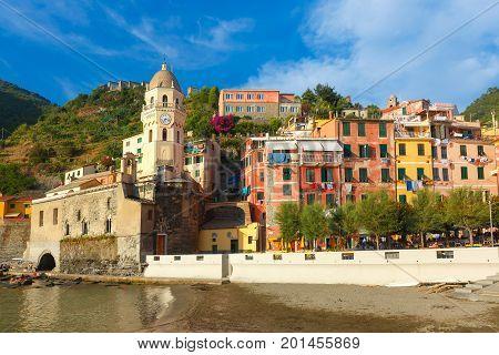 Santa Margherita di Antiochia Church in Vernazza harbour in Five lands, Cinque Terre National Park, Liguria, Italy.