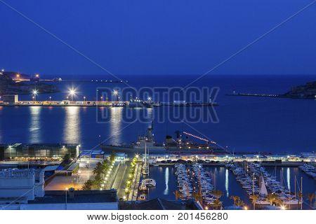 Port of Cartagena at night - aerial photo. Cartagena Murcia Spain.