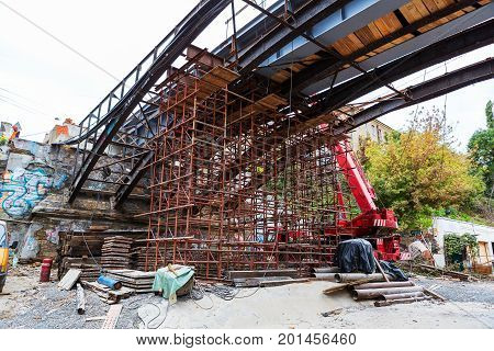 Odessa, Ukraine - October 11, 2016: Bridge Repair. Metallicheskie Support Of The Bridge. Carried Out