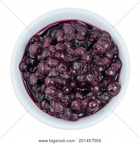 Fresh Made Canned Blueberries Over White