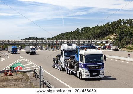 Bordeaux France - June 8 2017: Trucks at the toll gate station on the highway in France