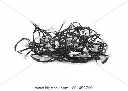 Tangled Christmas garland on white background