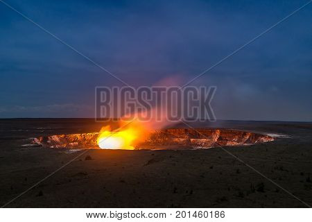 Halemaumau Crater In Night Time