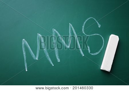 Management abbreviation MMS written on chalk board