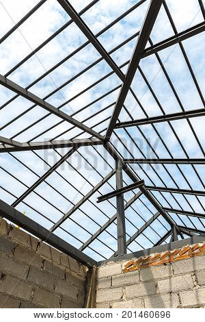Steel structure of roof during construction, Architecture