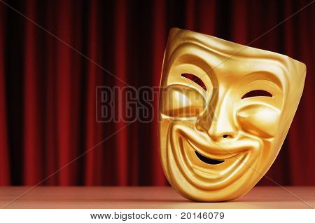 Masks with the theatre concept poster