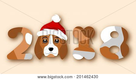 Happy Chinese New Year 2018, Face Dog in Santa Hat - Illustration Vector