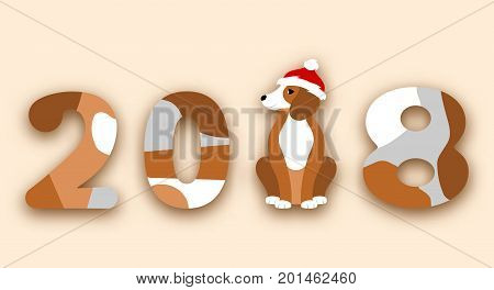 Happy Chinese New Year 2018, Dog in Santa Hat - Illustration Vector