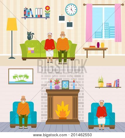 Old People Home Interior Background. Aged Characters, Household Furniture, Pension - Illustration Vector