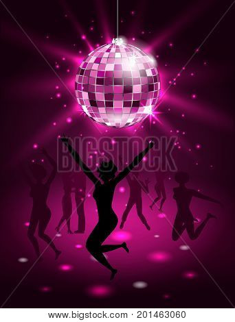 Silhouette People Dancing in Night-club, Disco Ball, Glitter Party Background - Illustration Vector