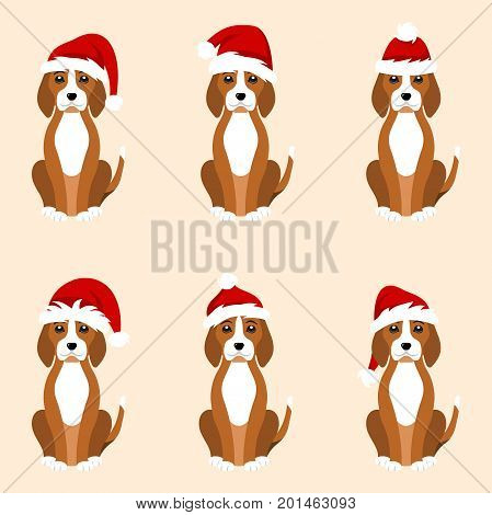 Christmas Funny Dogs in Different Santa Hats - Illustration Vector